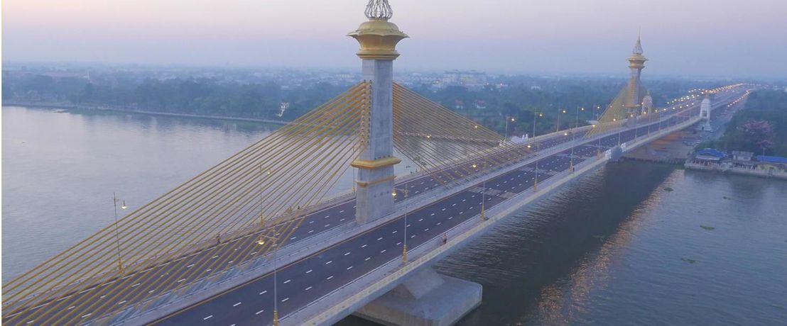 Chao Phraya River Crossing Bridge in Thailand